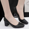 Brands crude with high heels Female shoes Ms classic black work shoes Middle heel casual shoes
