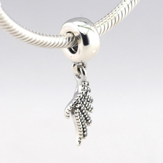 Осень стиль серебряные ювелирные изделия 925 величественный перо CZ мотаться бусины Fit пандора оригинальный подвески браслеты DIY ювелирных украшений