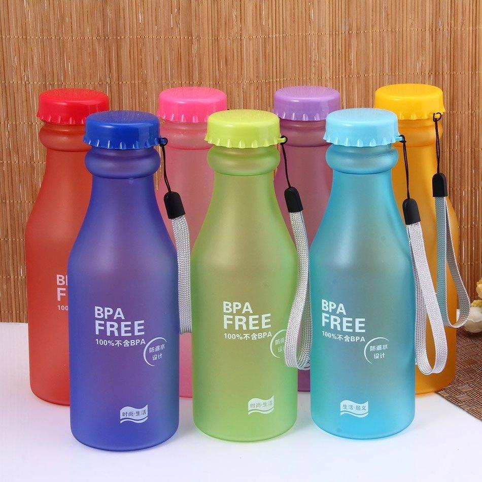 Hot Sale 550ML Portable Candy Color Leak-proof Water Bottle Plastic Sport Lemon Juice Cup Pop Outdoor Travel Mug Drinkware(China (Mainland))