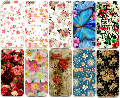 painted flower phone skin shell case for iphone4 4s hot sale(China (Mainland))