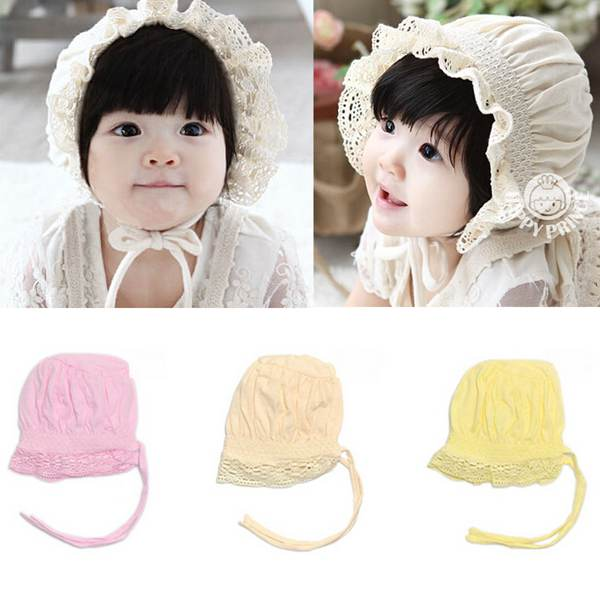 Lovely Lace Cotton Baby Girls Infant Toddlers Flower Sunhat Convenient Kids Summer Cool Cap Bonnet Hat(China (Mainland))