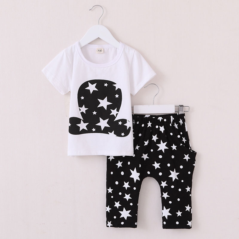 2016 New summer kids clothes sets fashion star pattern short sleeve clothing sets for boys and girls cotton child sets unisex(China (Mainland))