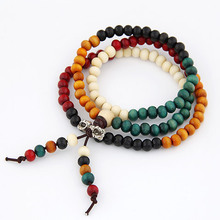 Fashion Vintage Tibet Ethnic Handmade Colorful Dia 6mm Wooden Beads Rosary Four Multilayer Bracelet for Women Men Jewelry(China (Mainland))