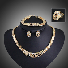 Fashion Gold Filled Wedding African Women Dubai Jewelry Sets 18k Gold Plated Bridal Statement Necklace And Earring Set  FHS0205(China (Mainland))