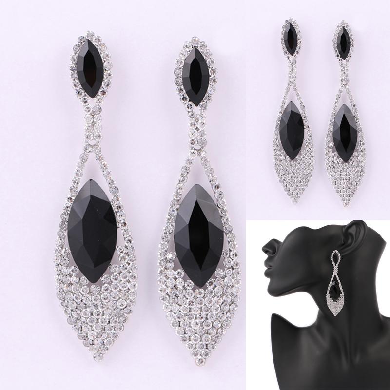 Black Crystal Bridal Long Dangle Earrings to party leaf brincos festa New long earings fashion jewelry green black(China (Mainland))