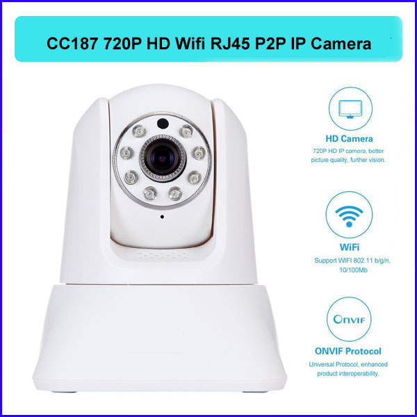 P2P wireless IP camera cctv 720P HD IR night vision Monitor RJ45 WiFi Embedded Linux OS Support 5 visitor H.264 CC-187 - QX Store store