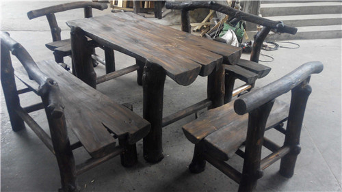 Outdoor gardening heavy solid wood furniture suite carbonized preservative antique wooden long table bold(China (Mainland))