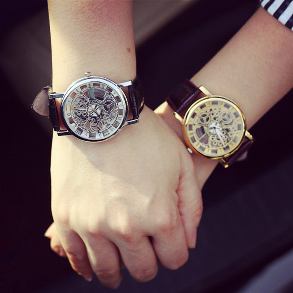 New Fashion Engraving Watches Imitation of Mechanical Watch Gift Unisex