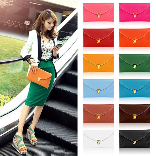 2015 New vintage Ladies Leather Envelope candy color women bag Clutch Evening Purse Chain Handbag Tote Shoulder Messenger Bags - Fyclothes Fashion Store store