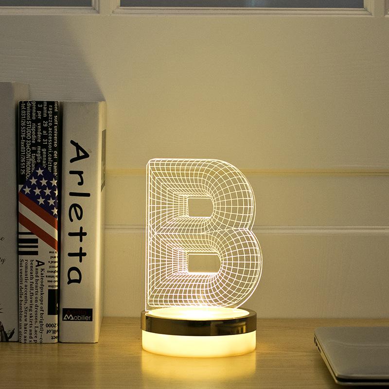 Acrylic Letter B 3D LED Lamp Baby Night Light Sleeping Lighting 5V USB Small led table Lamp Big white Creative Small Desk Lamp(China (Mainland))