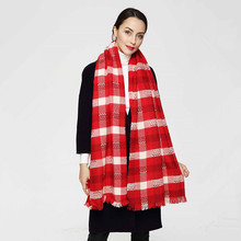 High Quality New Fashion Women Red Mix White Color Thick Winter Scarf Long Shawl Euro Designer Scarves PJ045(China (Mainland))
