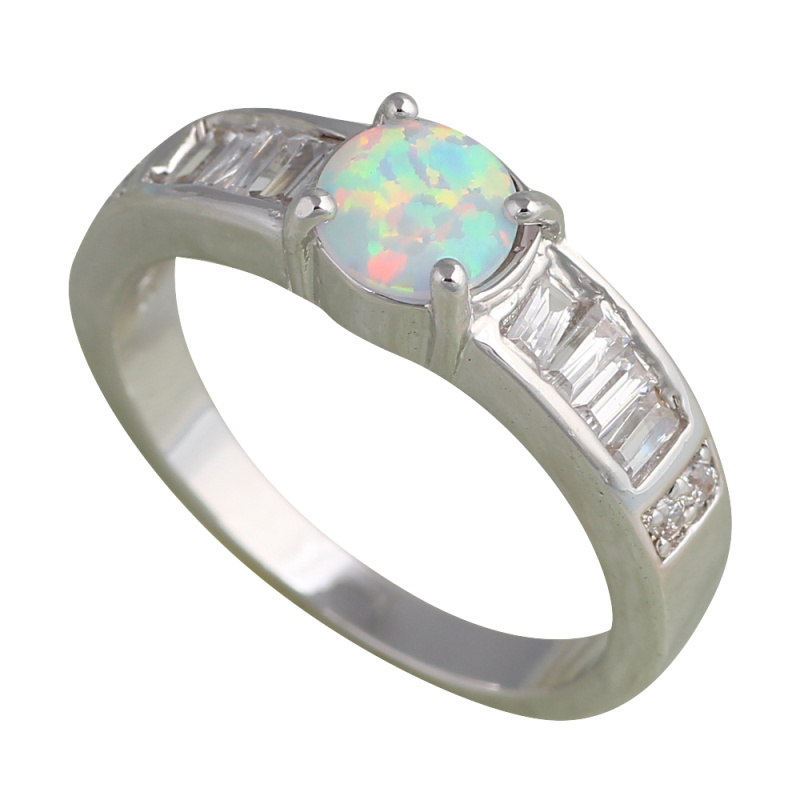 Hot selling Designer Silver Stamped fashion jewelry Green Opal wedding Ring