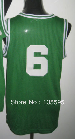 Free Shipping,Cheap Sale 2013 New Arrive Discount Promotion #6 Bill Russell Green Basketball jersey ,Embroidery logos(China (Mainland))