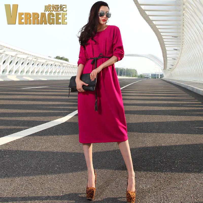 Verragee2015 winter new high-end European and American temperament was thin long-sleeved knit dress dress large size womenA95Одежда и ак�е��уары<br><br><br>Aliexpress