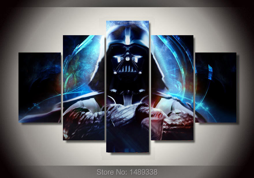 Framed printed star wars 5 piece picture painting wall art for 5 piece mural