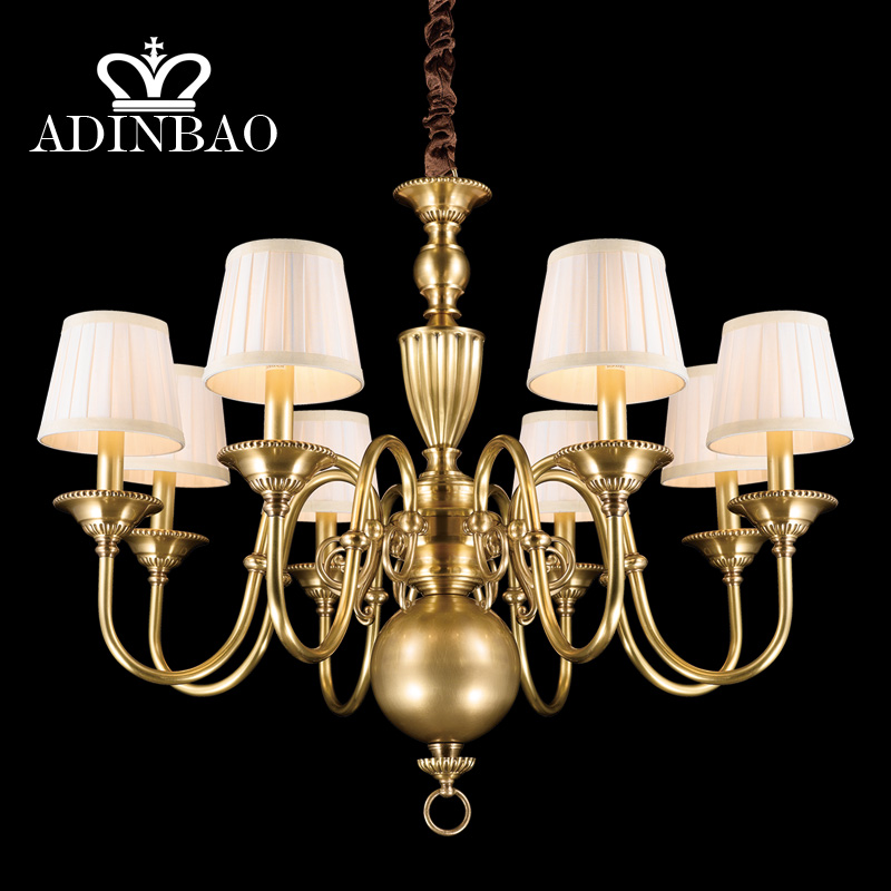 Modern Design LED American Country Wrought Copper Art Pendant Lamps Northern Contracted Chandelier Restoring Ancient SZ50717-08(China (Mainland))