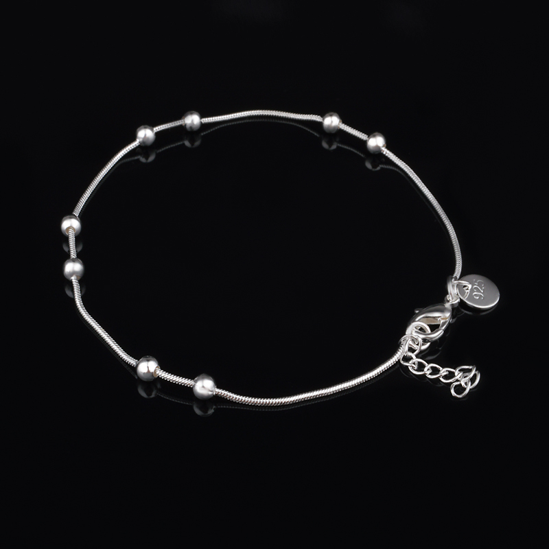 Classic Simple Design Silver Bead Bracelets For Men Women 925 Silver Spring Clasps Bracelets Free Shipping AB-71(China (Mainland))