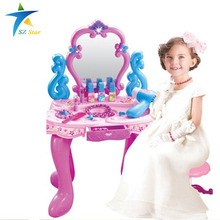 ABS plastic Simulation Dressing Table toy dressing girls kids furniture bedroom dresser sets Children playset light sound music(China (Mainland))