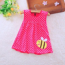 2016 new Cute Baby Girl Dress Cotton Dot Striped Slip Dress pear flower Children Kids Clothing 0-18M dress(China (Mainland))