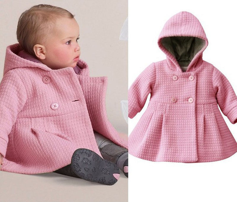 ew Baby Toddler Girls Fall Winter Horn Button Hooded Baby Girl Winter Warm Wool Blend Pea Coat Snowsuit Jacket Outerwear Clothes(China (Mainland))