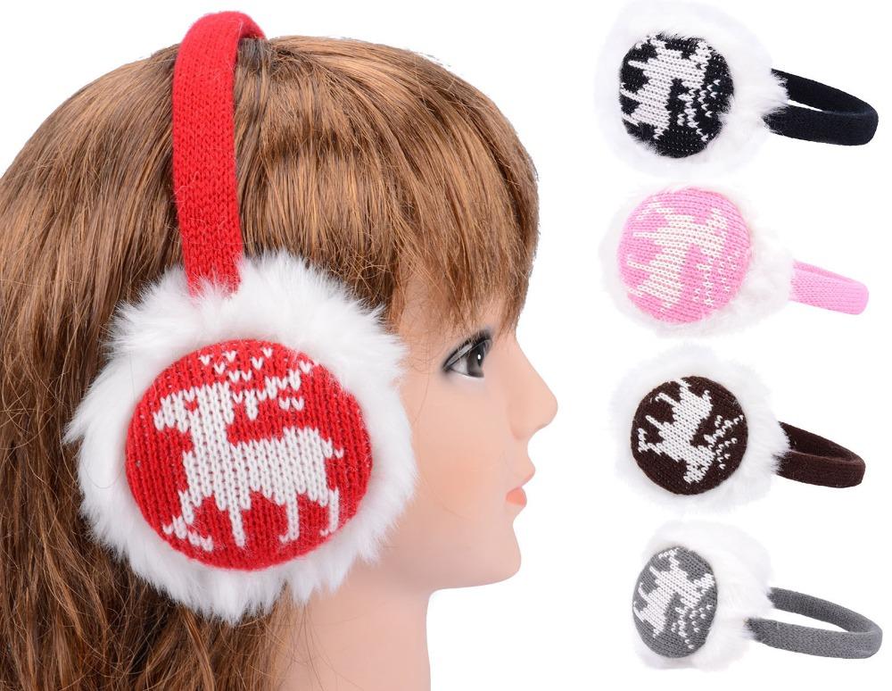 faux fur deer design earmuff knit knitted ear warmer winter ear muffs Christmas gift(China (Mainland))