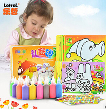 2014 kid brinquedos Learning & education 37pcs color sand painting set drawing toys for child, bottles colored sand air for sale(China (Mainland))