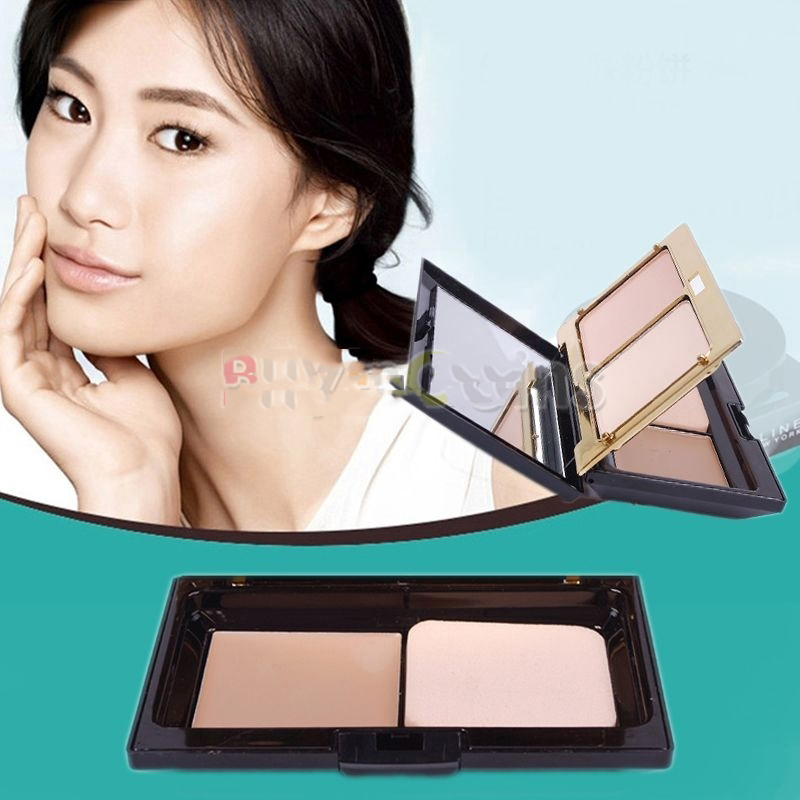 MicroBid Eco-friendly Pro 3 Color Dry Wet Powder Two Way Cake Natural Color Make-Up Foundation Premium!(China (Mainland))