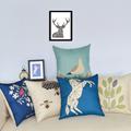 Hot Bird Pillow Cover Nordic Style Cotton Linen Cartoon Trees Almofadas 45Cmx45Cm Square Home Decorative Horse