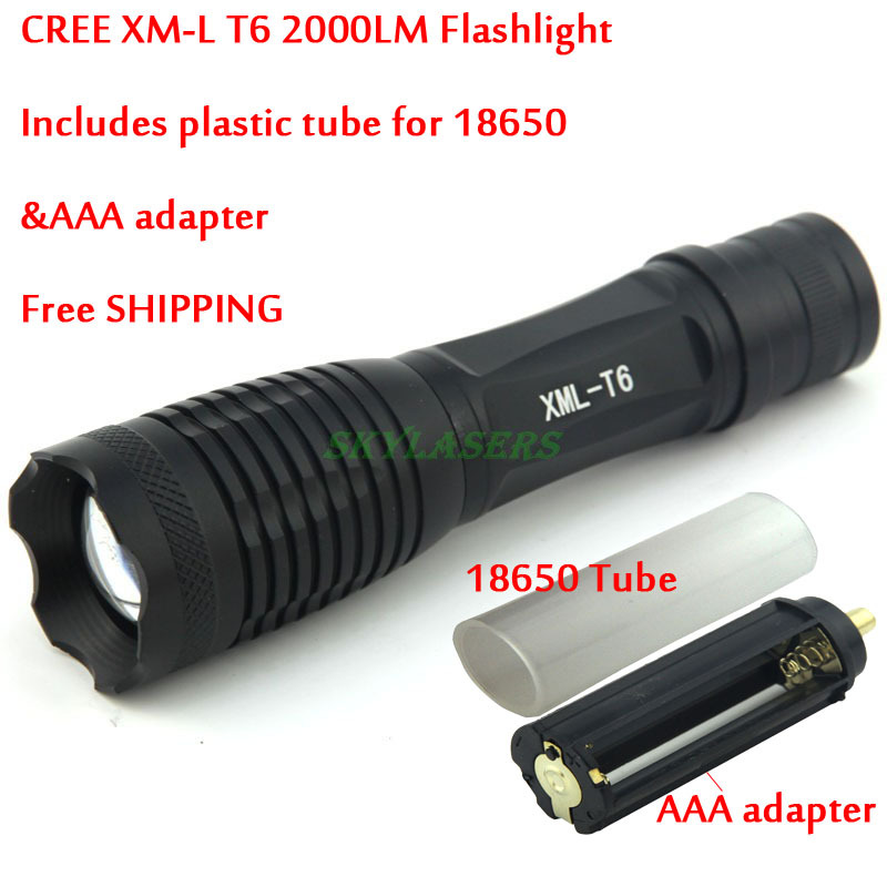 Big Discount! E007 CREE XM-L T6 2000 Lumens 5 Mode Zoom LED Flashlight Torch For 3 x AAA or 1 x 18650(China (Mainland))