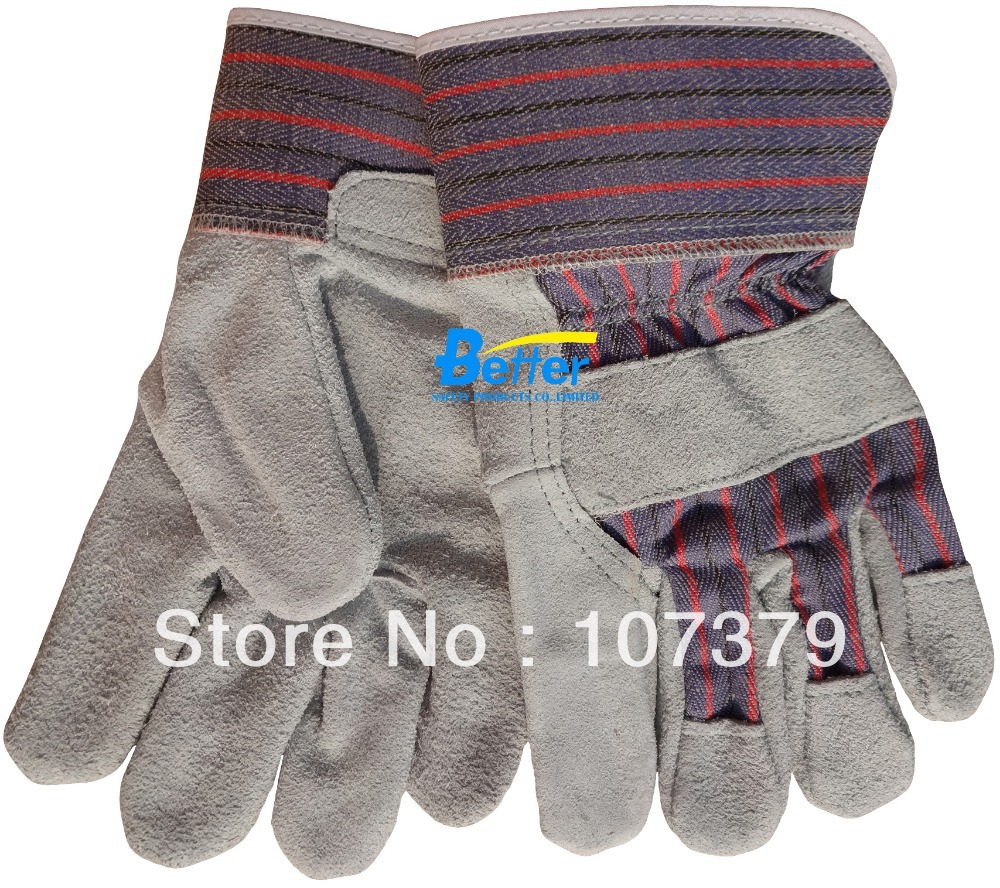 Leather work gloves china - Leather Combined Safety Glove Deluxe Leather Work Glove