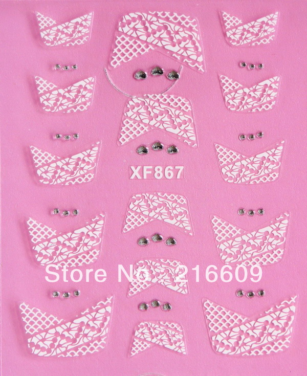 Promotion 500Sets/Lot 3D DIY French Lace Rhinestone Adhesive Nail Art Stickers Decal 12Syles XF861-XF872 Free shipping DHL(China (Mainland))