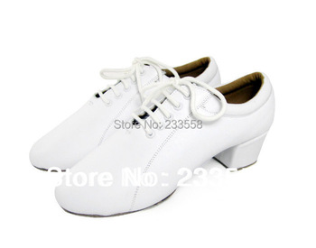 Free shipping White Genuine leather men's Latin dance shoes Ballroom dancing shoes Salsa Party Wedding shoes sneakers 4.5cm