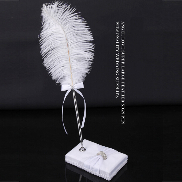 1 Gift Set Europe Style Vintage Elegant White Feather Wedding Pen With Setting Wedding Guests Blackwater Pen(China (Mainland))