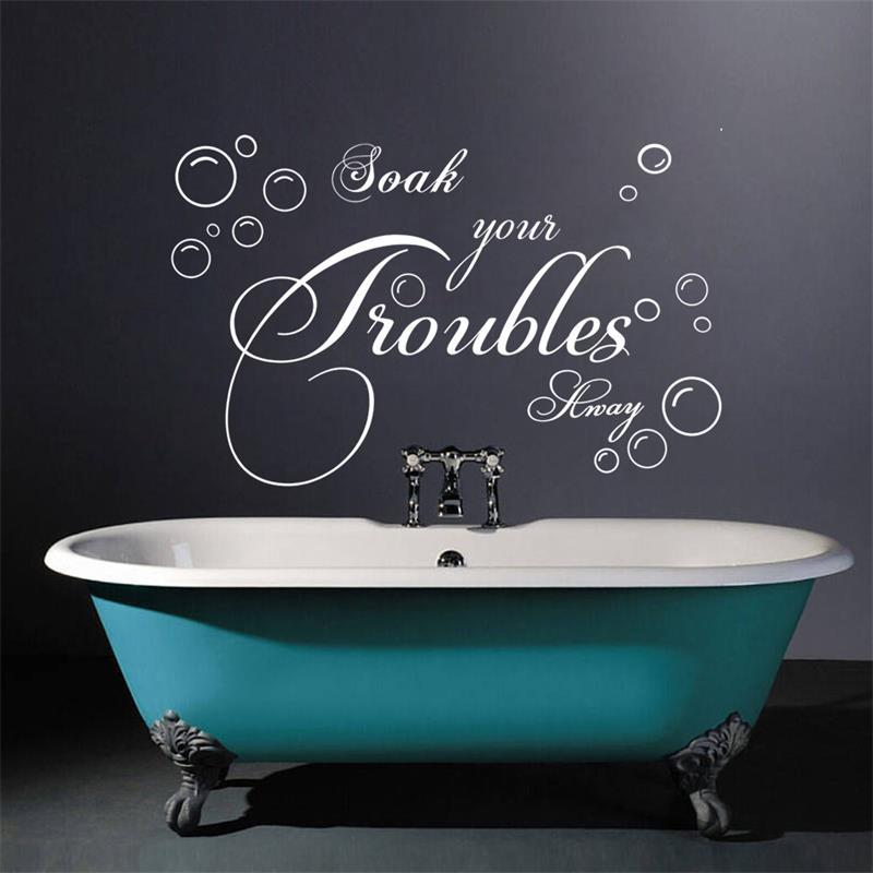 Bathroom Wall Sticker Lettering Soak Your Troubles Away Bubble Vinyl Wall Decals Art Vinyl Wall