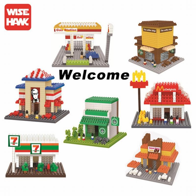 Wise Hank Diamond Mini Blocks Architecture Model DIY Building Toys Gas Station Starbucks Plastic Children Gifts Kits Toy(China (Mainland))