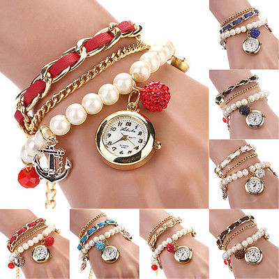 Girl s Splendid Faux Leather Pearl Rhinestone Anchor Bracelet Quartz Wrist Watch