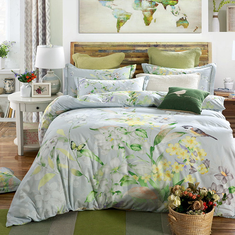 Green flower bedding comforter sets bed linen quilt cover pillowcase comforter natural style winter bedding set queen king size(China (Mainland))