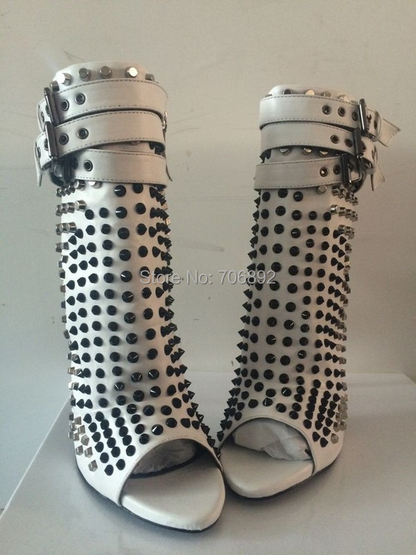 White Black Ankle Strap Studded Ankle Boots Peep Toe Stiletto Heels