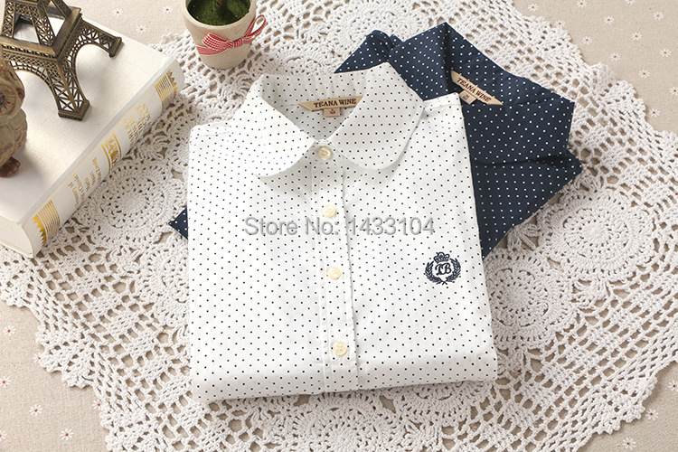New Hot Fashion Casual Women Blouses Vintage Polka Dot Cotton Blouses Long Sleeve Lapel Shirts White Navy Blue Plus XL Blusas(China (Mainland))