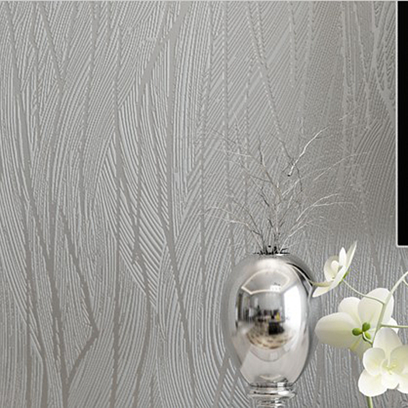 Solid color modern silver grey striped wallpaper bedroom for Cheap plain grey wallpaper