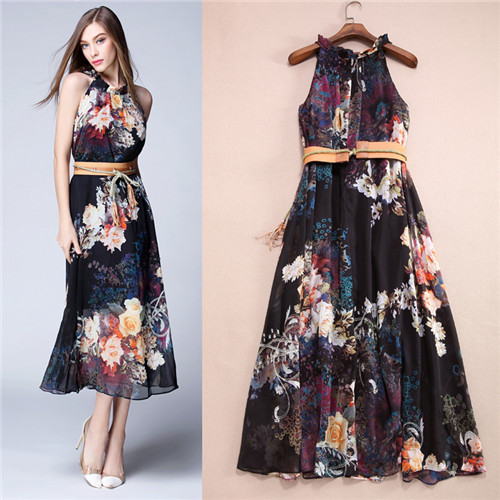 2015 summer new women's fashion runway long dresse chiffon mid-calf dress silk floral designers elegant chiffon dress with belt(China (Mainland))