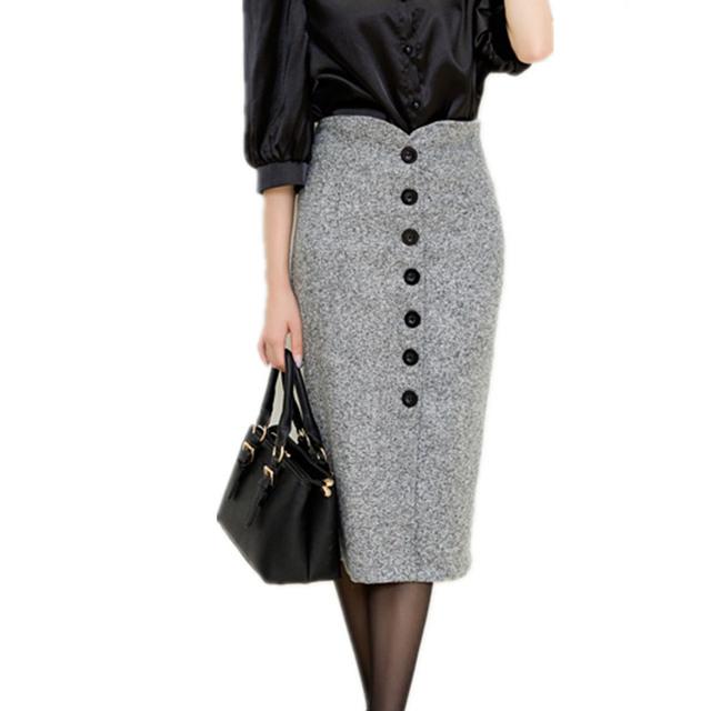 Юбки 2015 осень и зима женщины высокой талией колен юбка карандаш женский шерстяные однобортный миди Большой размер S-XXL