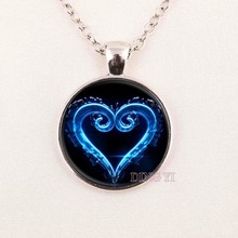 Hot glass dome 1pcs/lot Kingdom Hearts Necklace, Art Pendant, Bronze Glass dome Cabochon Necklace,DIY Jewelry DY6