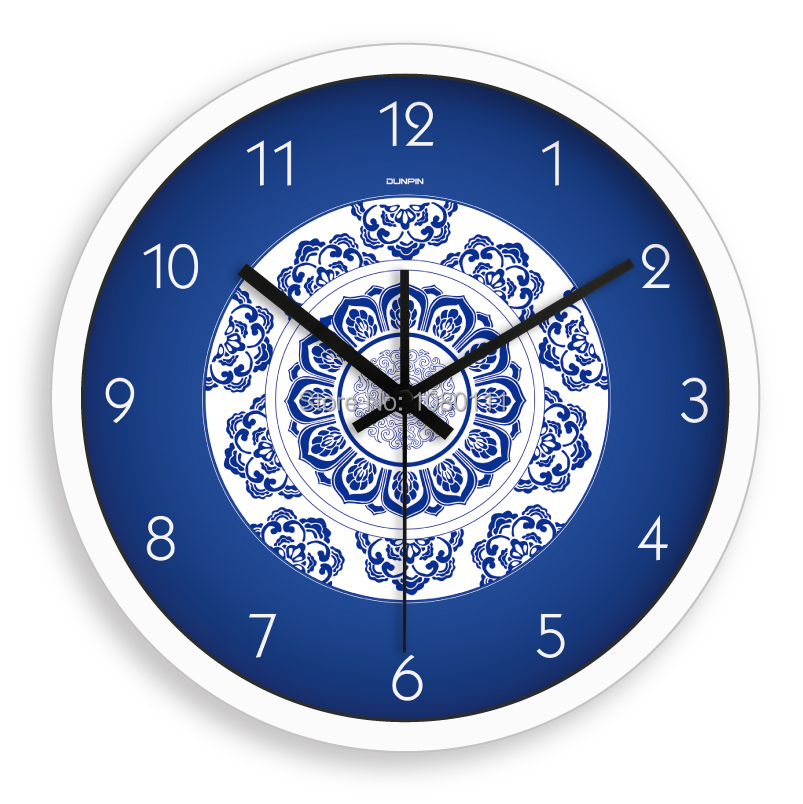 14inch living room quieten core wall clock, Chinese style exquisite blue and white porcelain clock, creative hanging clock(China (Mainland))