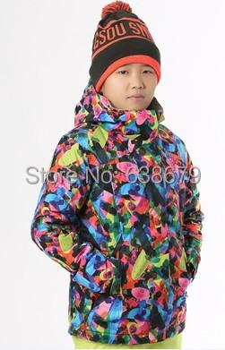 2015 childrens geometric ski jackets snowboarding jackets kids colourful ski jackets skiwear snow wear anorak(China (Mainland))