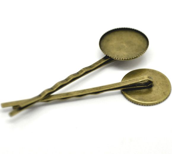 Antique Bronze Bobby Pins Hair Clips W/Glue Pad 6.3x1.9cm(Fit 18mm),sold per pack of 30 Mr.Jewelry(China (Mainland))