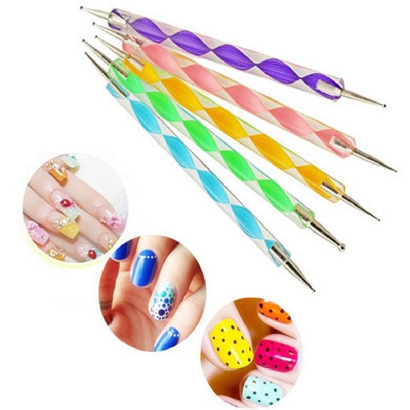 5pcs 2 Way Profession Dotting Pen Marbleizing Painting Tool Nail Art Dot Set(China (Mainland))