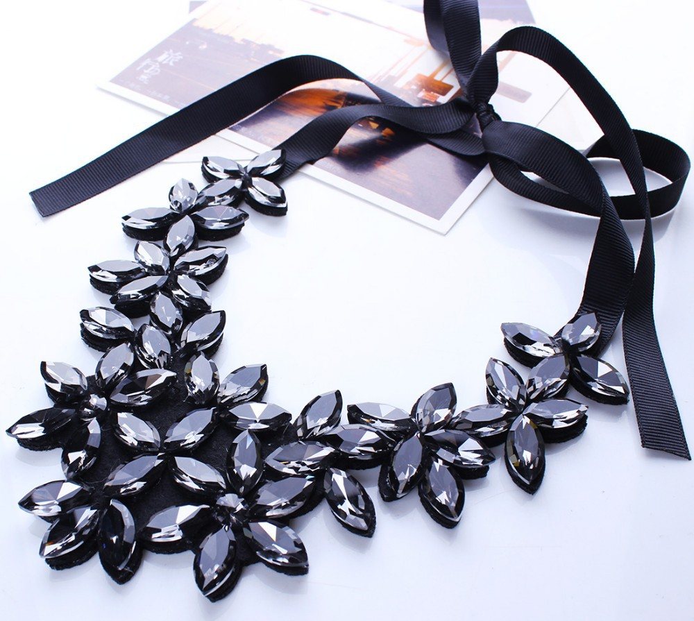 Crystal Necklace Women Crystal Flower Pendant Necklace Ribbon Choker Bib Collar Necklace N2524