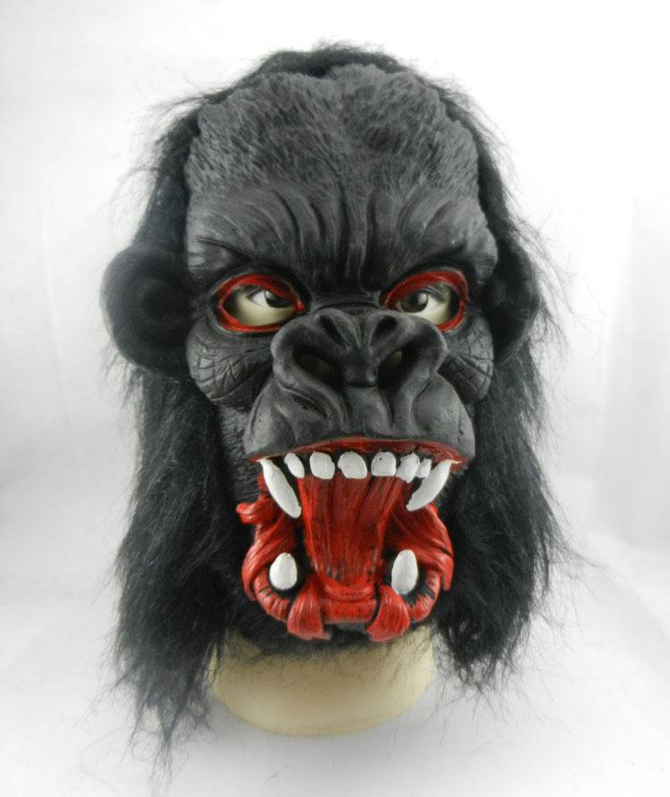2016new Big Ear Gorilla Mask Adults Mask Creepy Fur Mane Latex Realistic Crazy Rubber Super Creepy Party Halloween Costume Mask(China (Mainland))
