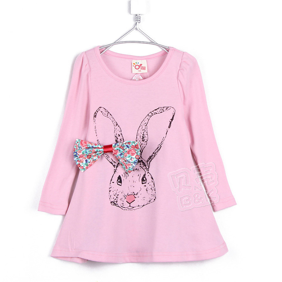 2015 autumn and winter girls one-piece dress rabbit girls clothing baby child long-sleeve T-shirt dress clothes A0043(China (Mainland))